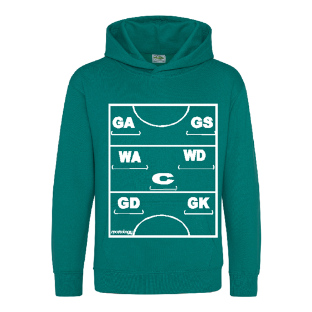 Netball Definitions Junior Hoodie in Forest Green