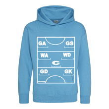 Load image into Gallery viewer, Netball Definitions Junior Hoodie in Hawaiian Blue