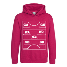 Load image into Gallery viewer, Netball Definitions Junior Hoodie in Hot Pink