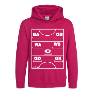 Netball Definitions Junior Hoodie in Hot Pink