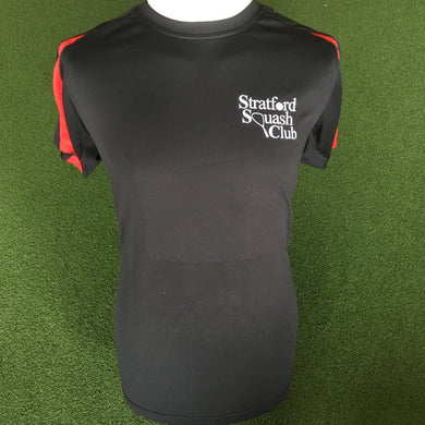 Stratford Squash Club Black/Red Training shirt - Sportologyonline