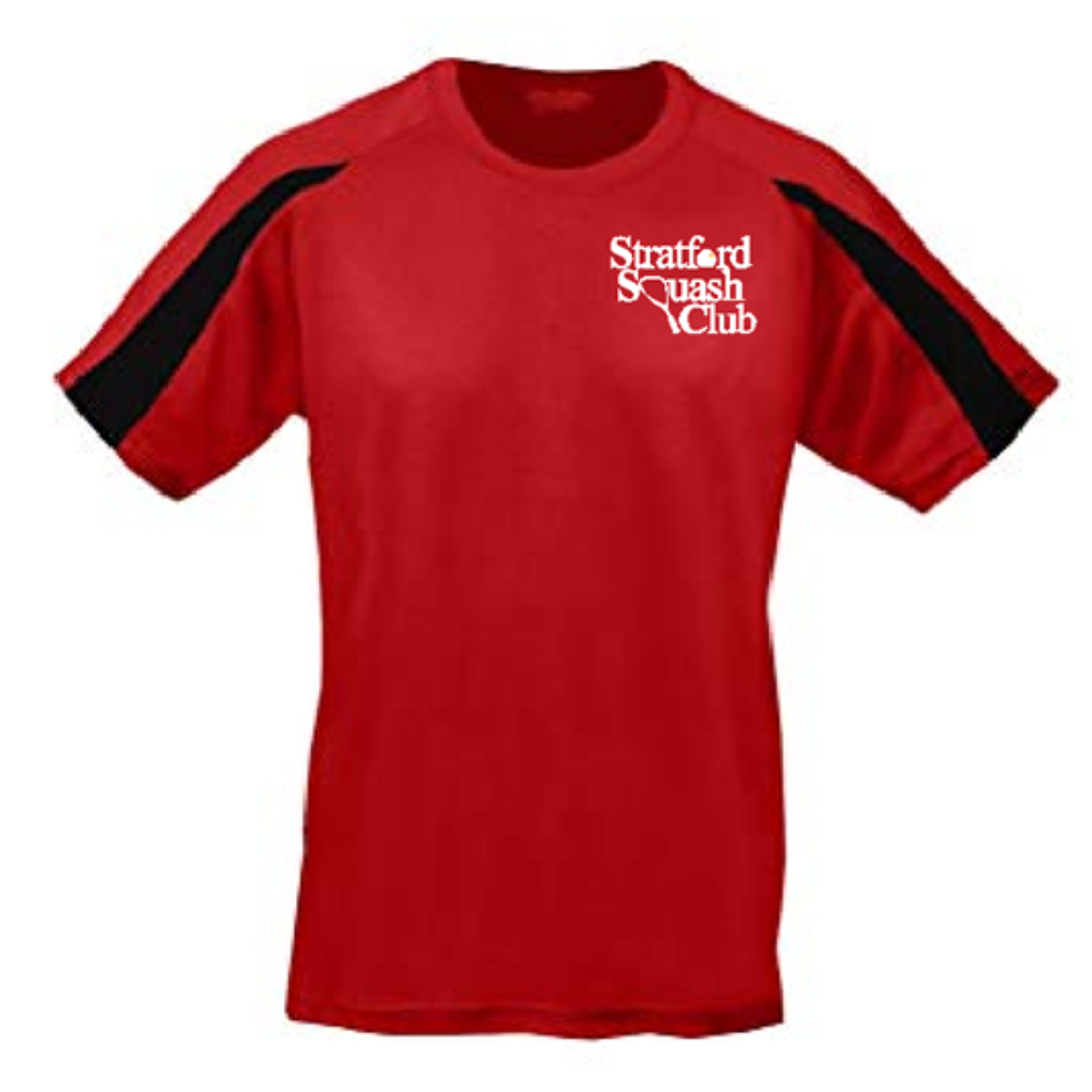 Stratford Squash Club Red/Black Training shirt - Sportologyonline