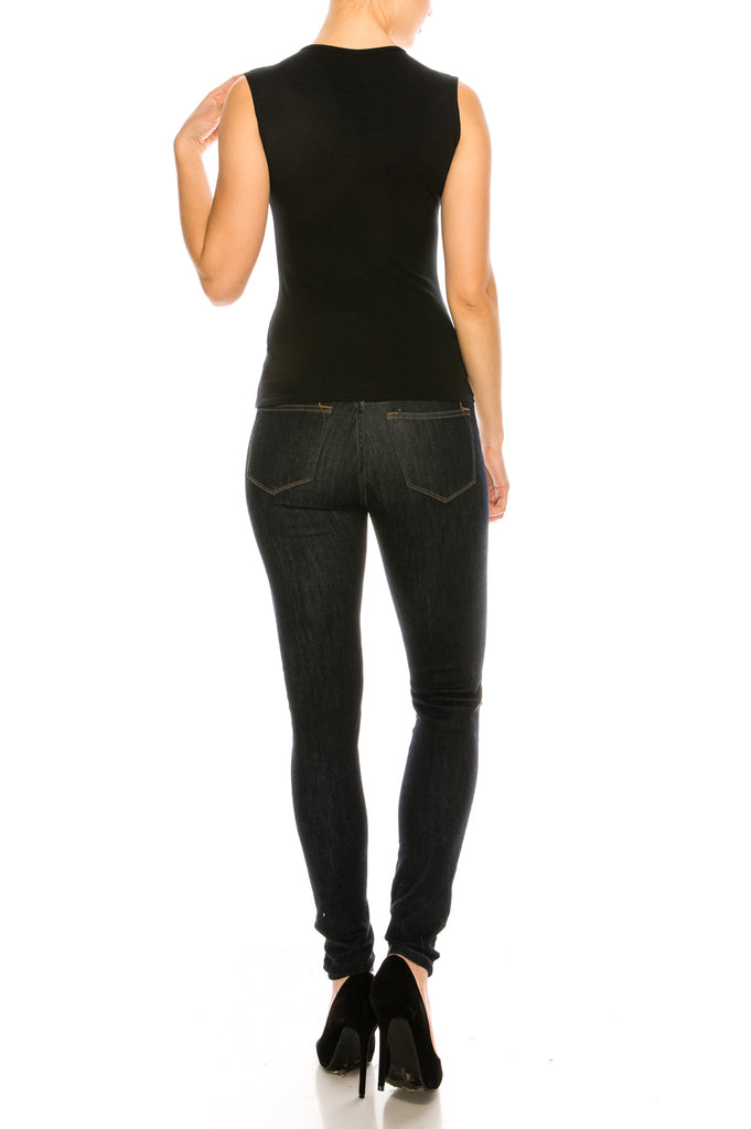 Black Microfiber Sleeveless Layering Shell Top