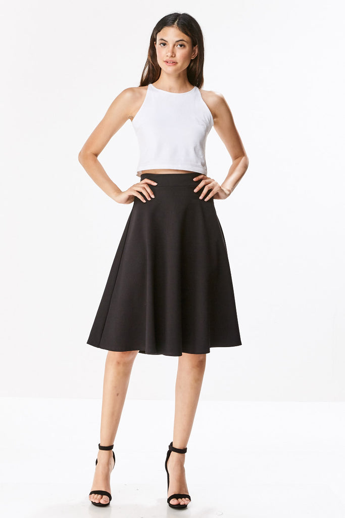 Ponte Flared A-line Midi Knee Length Skirt - CHI-CHI NYC
