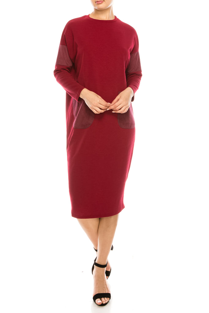 Long Sleeve Dress With Suede Patch Pockets & Dolman Sleeves - CHI-CHI NYC