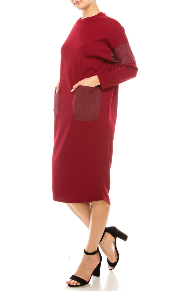 Long Sleeve Bubble Dress With Suede Patch Pockets & Dolman Sleeves - CHI-CHI NYC