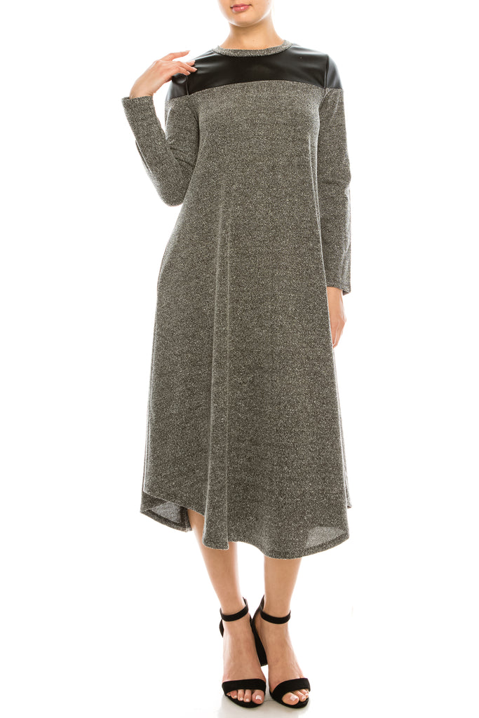 Diana Knitted Long Sleeve Swing Dress With Leather Shoulder Detail - CHI-CHI NYC
