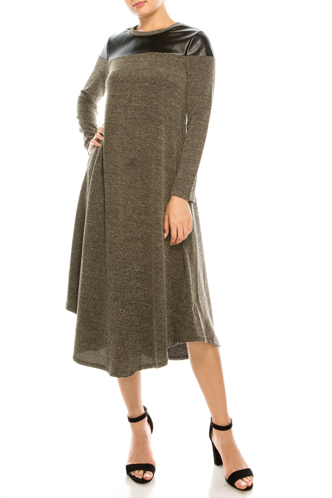 Diana Knitted Long Sleeve Swing Dress With Leather Shoulder Detail