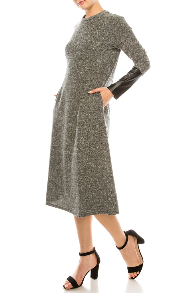 Knitted Fit And Flare Midi Dress With Pleather Sleeve Detail And Pockets - CHI-CHI NYC