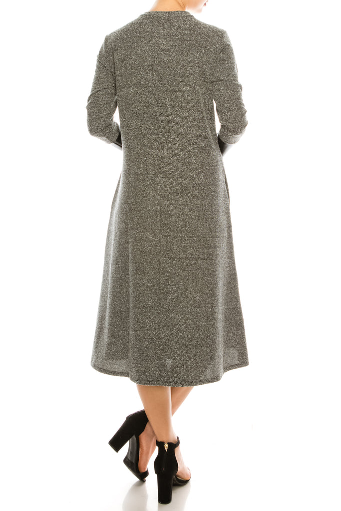 Knitted Fit And Flare Midi Dress With Pleather Sleeve Detail And Pockets