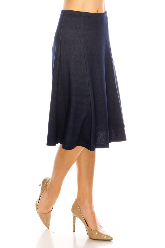 Denim Knit Flared A-line Below The Knee Midi Skirt