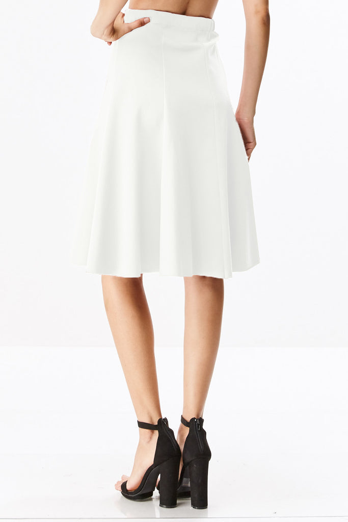 Ponte Six Panel A-Line Below The Knee Midi Skirt