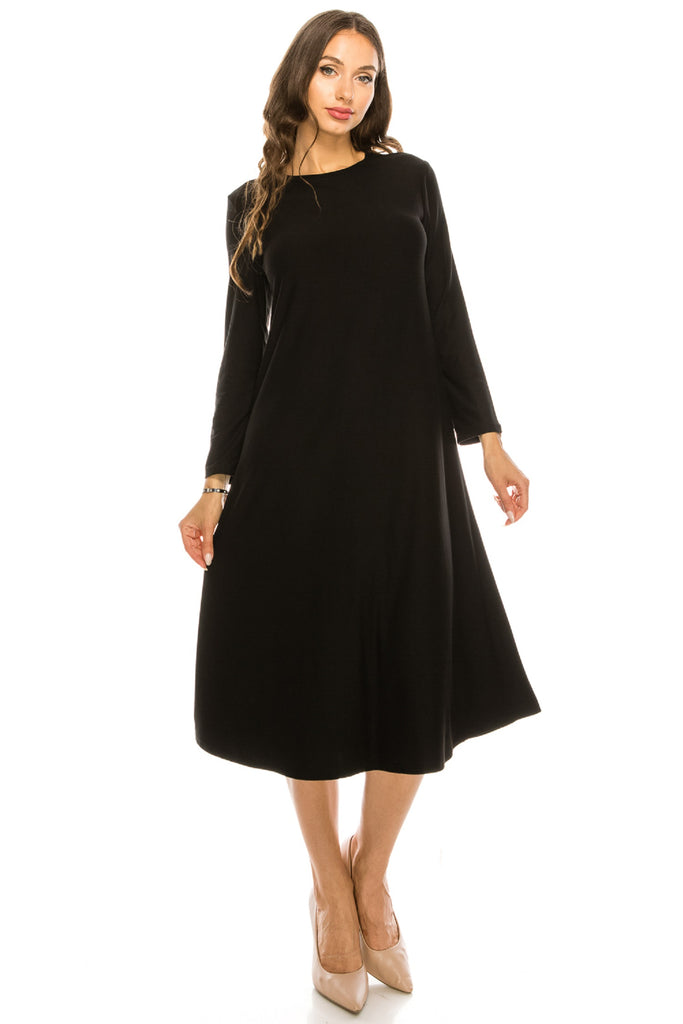 Basic Long Sleeve Flared T shirt Midi Dress