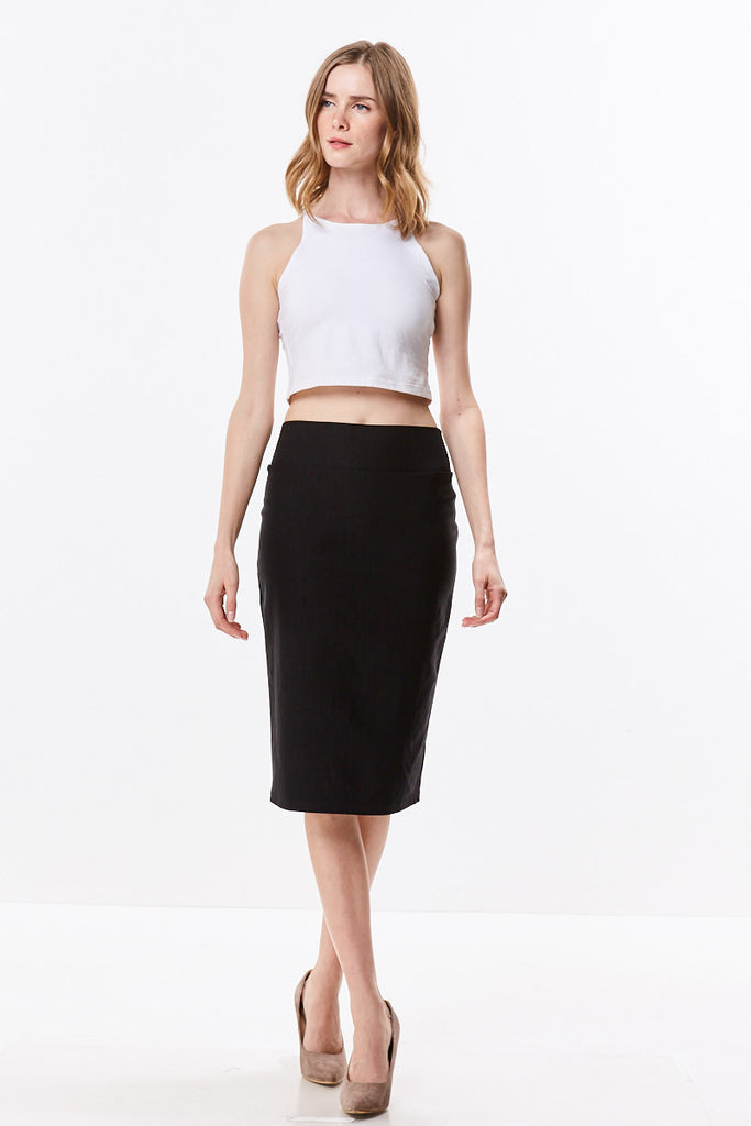 Stretch Woven Light Twill High Waist Straight Knee Length Pencil Skirt 138M