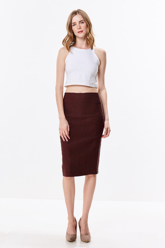 Straight Fitting Knee Length Pencil Skirt - CHI-CHI NYC