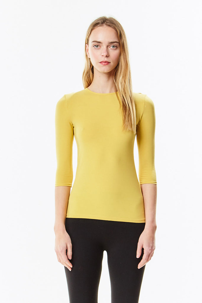 3/4 Sleeve Mustard Muted Yellow Cotton Layering Shell - CHI-CHI NYC