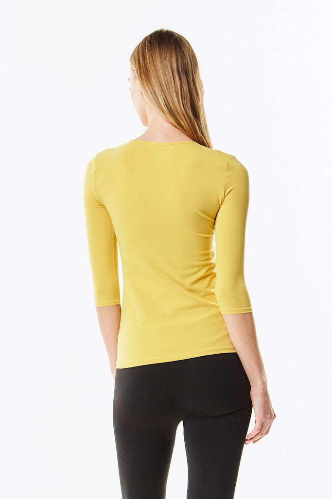 3/4 Sleeve Mustard Cotton Layering Shell