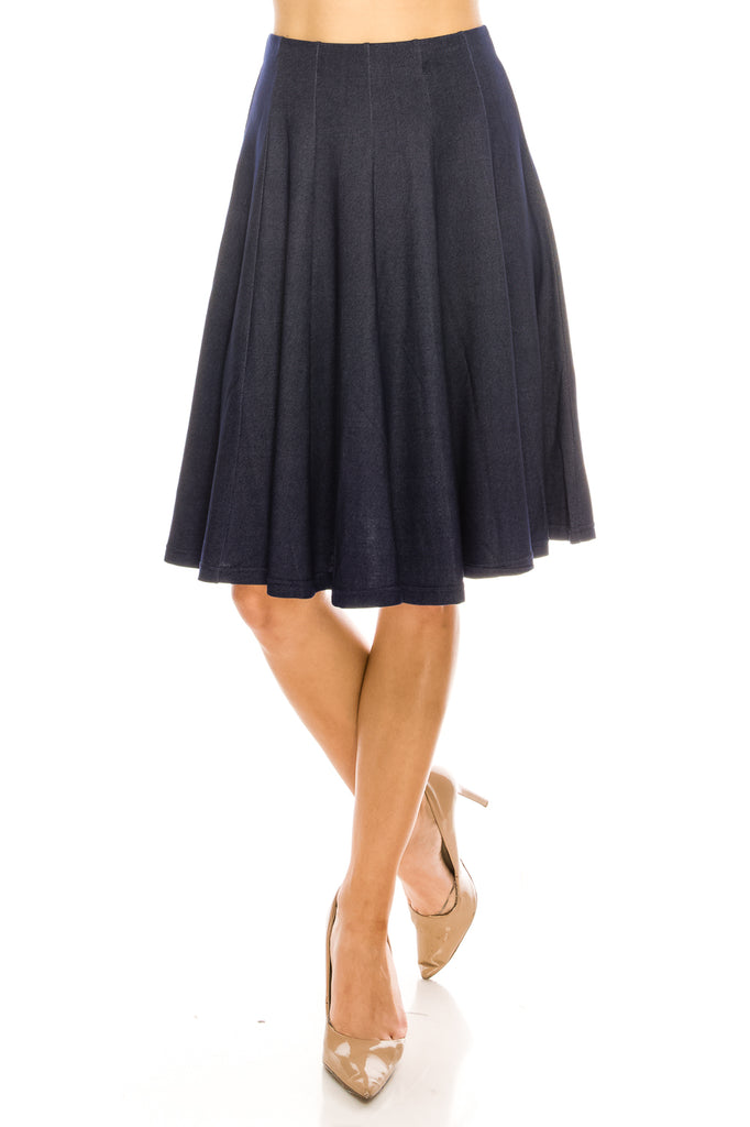Flared A-line Paneled Knee Length Skirt