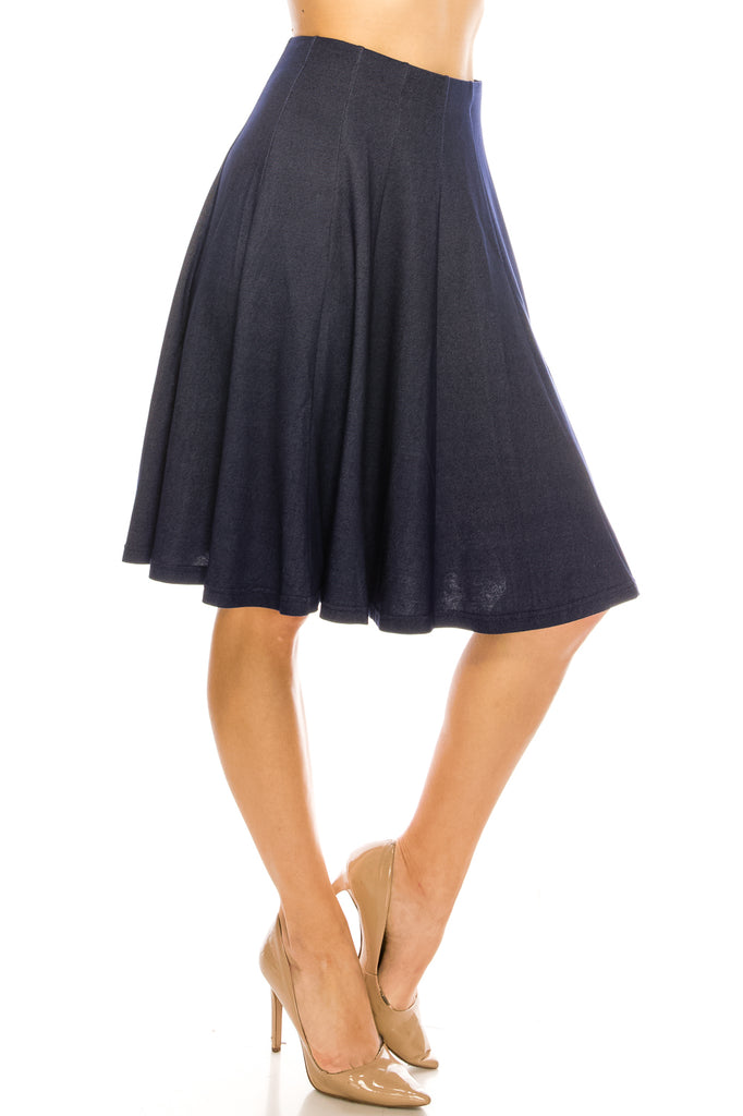 Cotton Flared A-line 12 Paneled Knee Length Skirt - CHI-CHI NYC