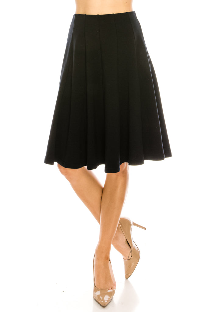 12 Panel Flared A Line Knee Length Midi Skirt - CHI-CHI NYC