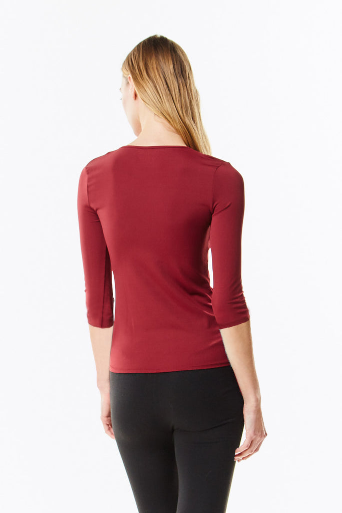 Long Sleeve Burgundy Microfiber Layering Shell