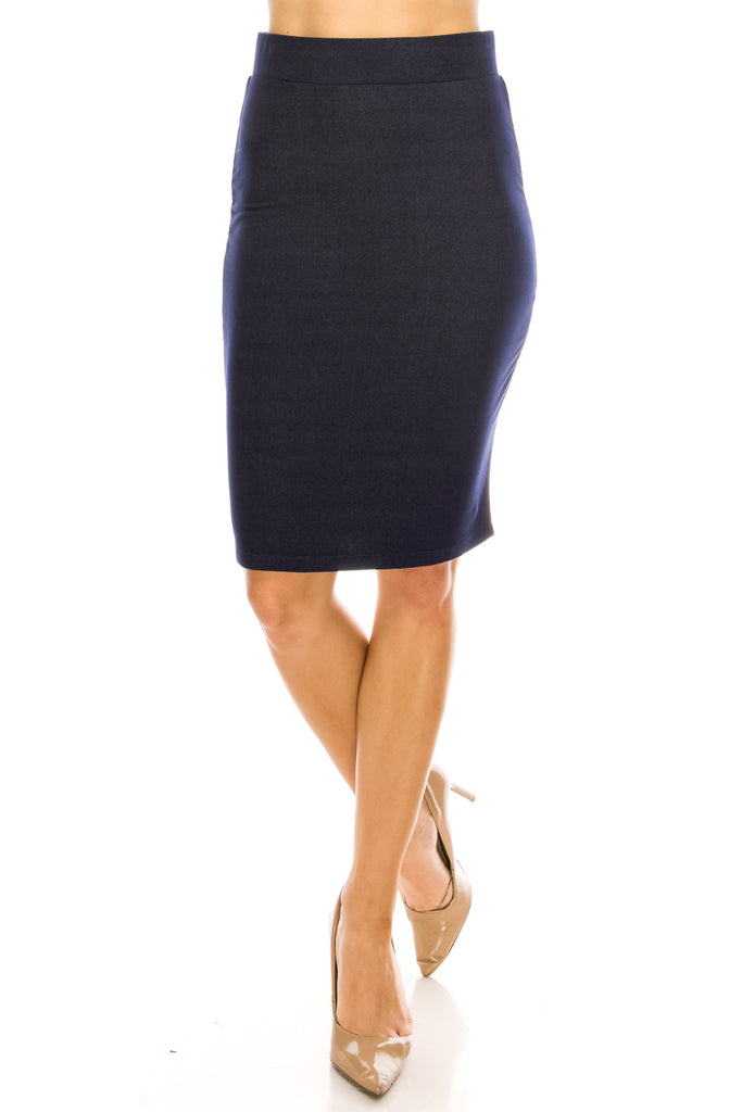 Denim Knit Perfect Fitting Knee Length Pencil Skirt