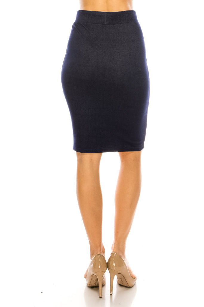Kate Denim Knit Pencil Skirt