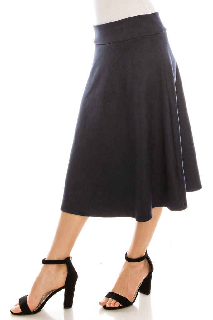 Flared A-line High Waist Knee Length Suede Midi Skirt - CHI-CHI NYC