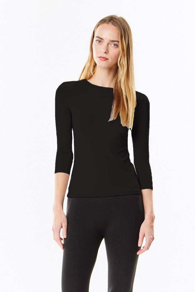 3/4 Sleeve Black Cotton Layering Shell Top