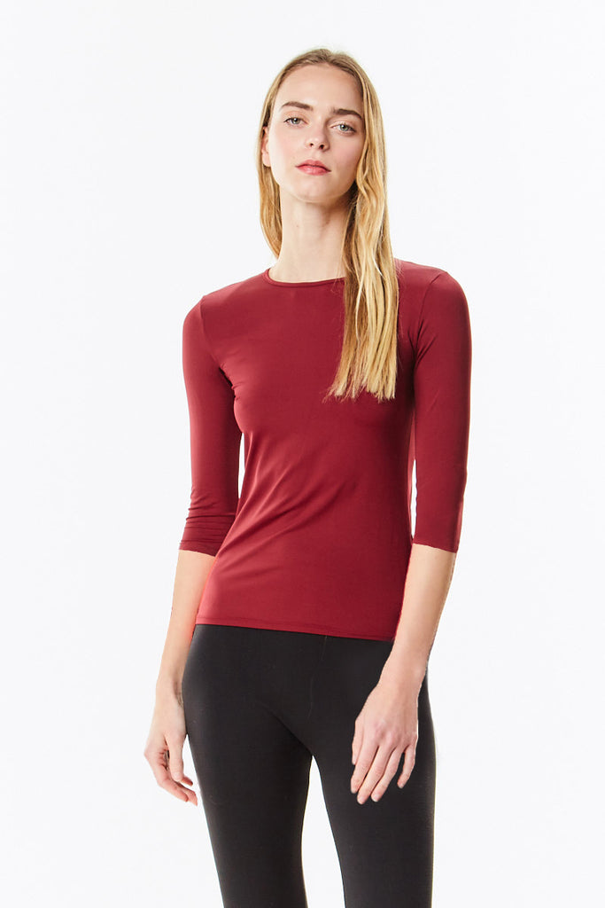 3/4 Sleeve Burgundy Cotton Layering Shell - CHI-CHI NYC