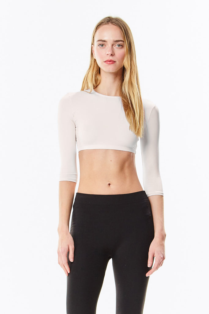 Off White Microfiber 3/4 Sleeve Cropped Shell