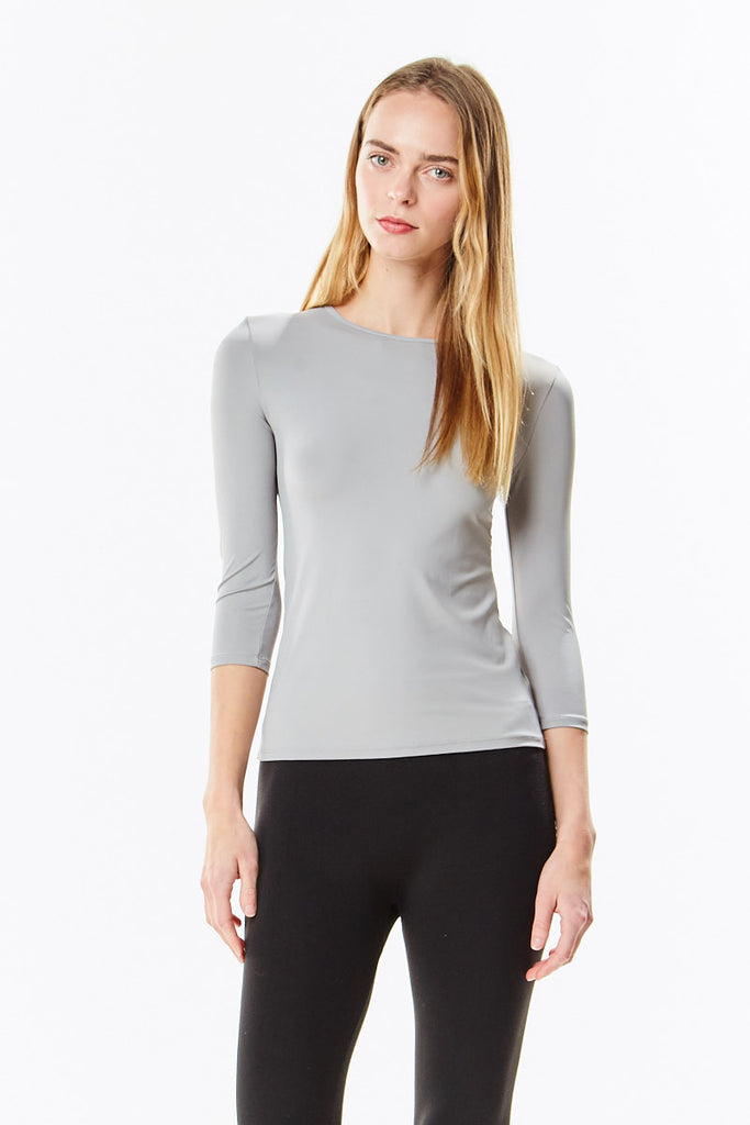 3/4 Sleeve Paloma Grey Microfiber Layering Shell Top - CHI-CHI NYC
