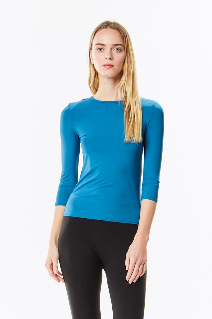 3/4 Sleeve Teal Microfiber Layering Shell Top