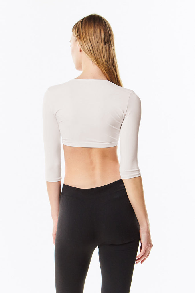 Off White Microfiber 3/4 Sleeve Cropped  Layering Top Shell - CHI-CHI NYC