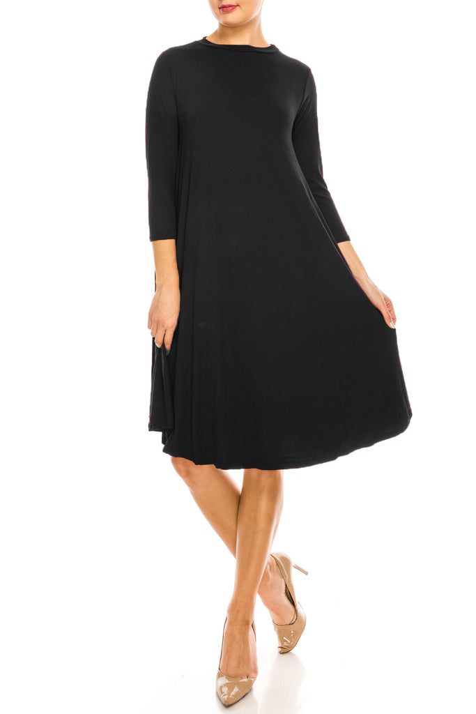 Harper Knee length Solid Swing Midi Dress