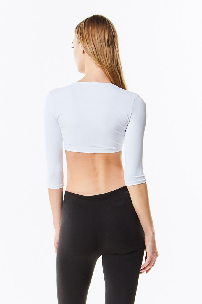 3/4 Sleeve White Cropped Microfiber Layering Shell Top