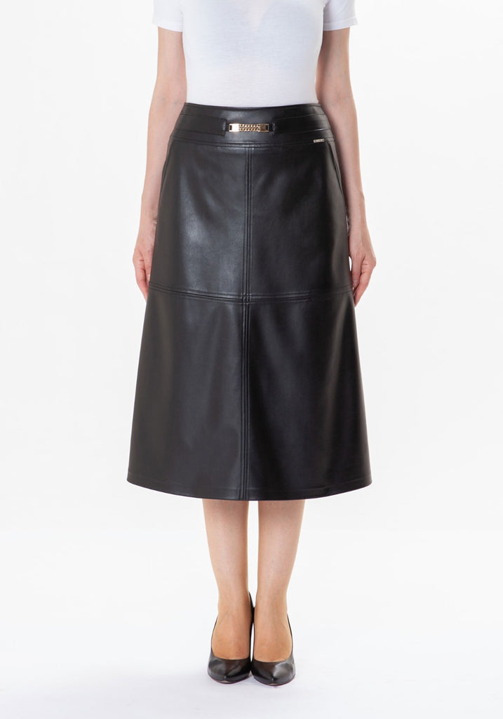 Carmella Pleather Mid Length Skirt