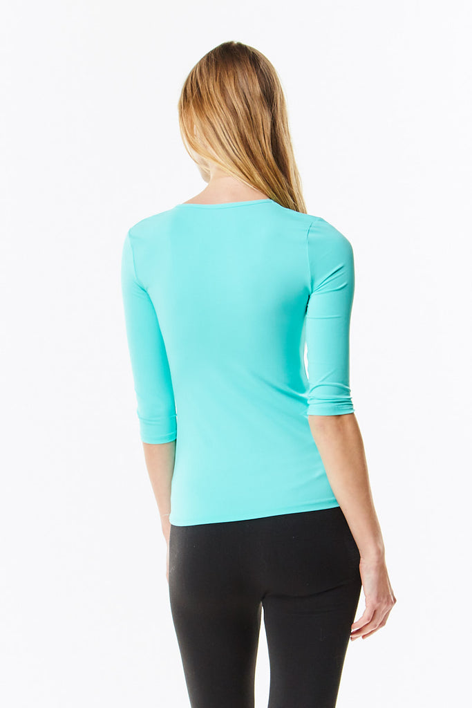 3/4 Sleeve Aqua Microfiber Layering Shell Top