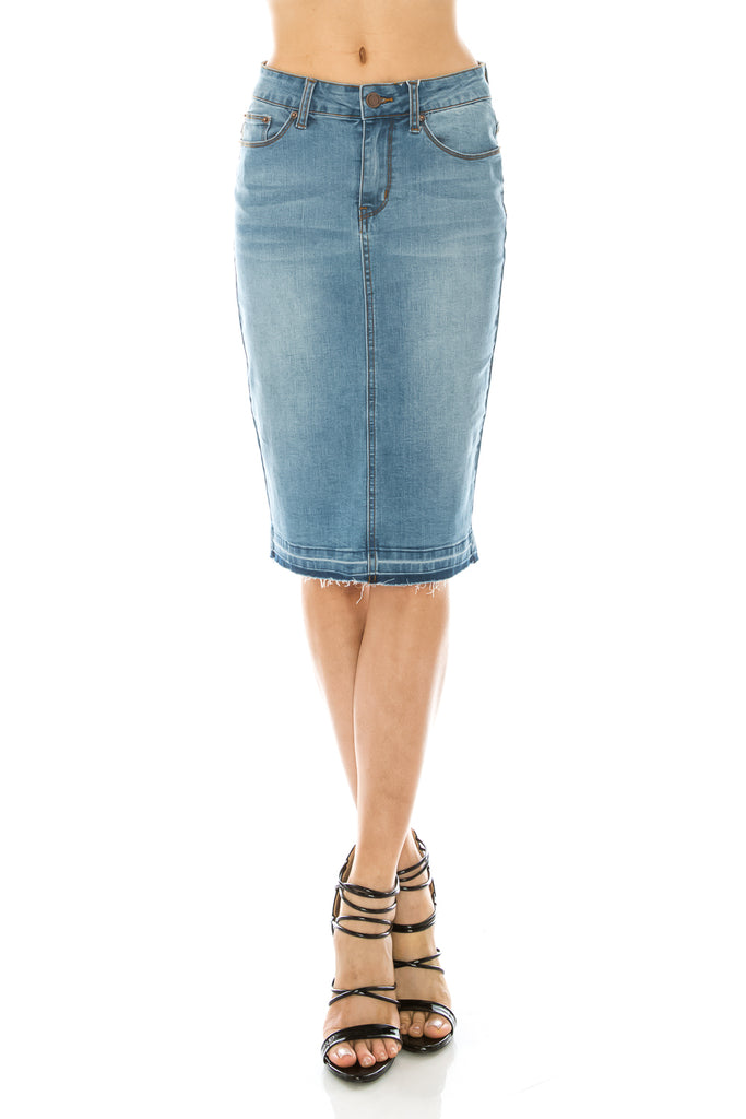Light Wash Denim Pencil Skirt Basic 5 Pocket Slimming Fit