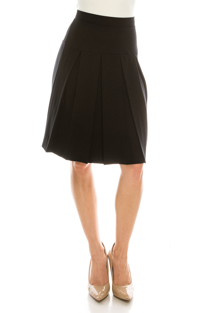 Pleated High Waist Knee Length Skirt - CHI-CHI NYC