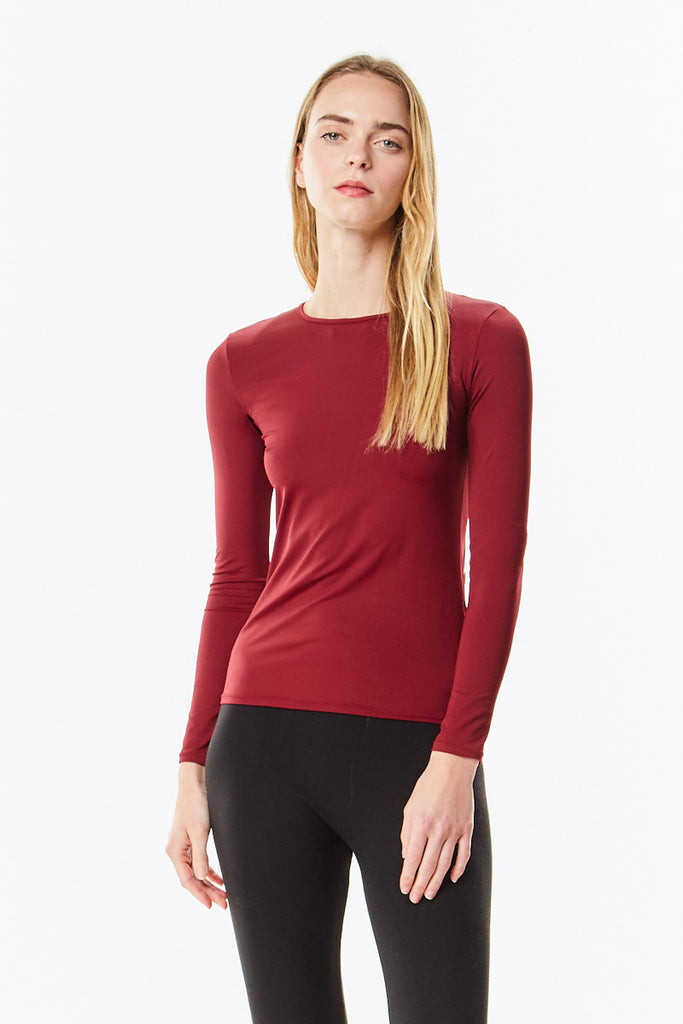 Long Sleeve Microfiber Burgundy Layering Shell Top