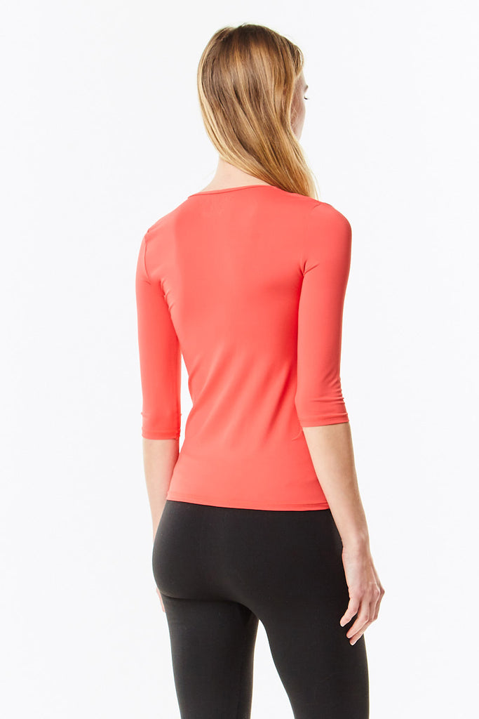 3/4 Sleeve Cayenne Microfiber  Layering  Shell Top