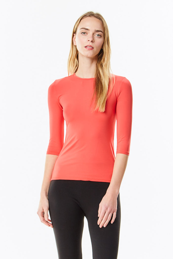 3/4 Sleeve Cayenne (Bright Coral) Microfiber  Layering  Shell Top - CHI-CHI NYC