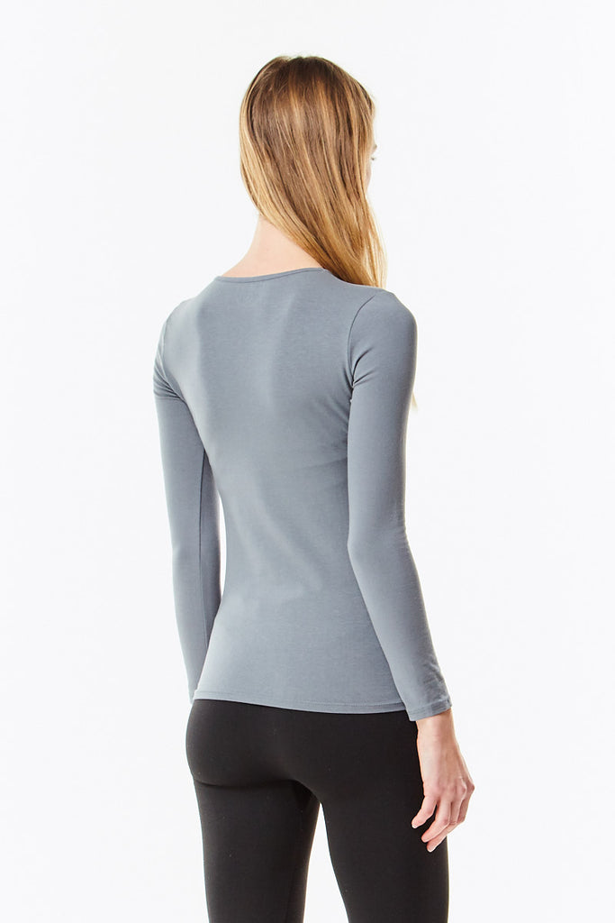 Long Sleeve Charcoal Cotton Layering Shell Top