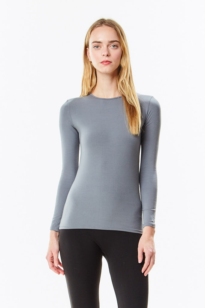 Long Sleeve Microfiber Charcoal Layering Shell Top - CHI-CHI NYC