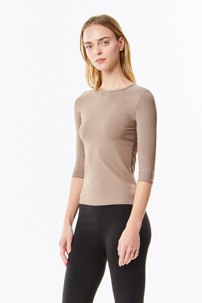 3/4 Sleeve Cognac Microfiber Layering Shell Top