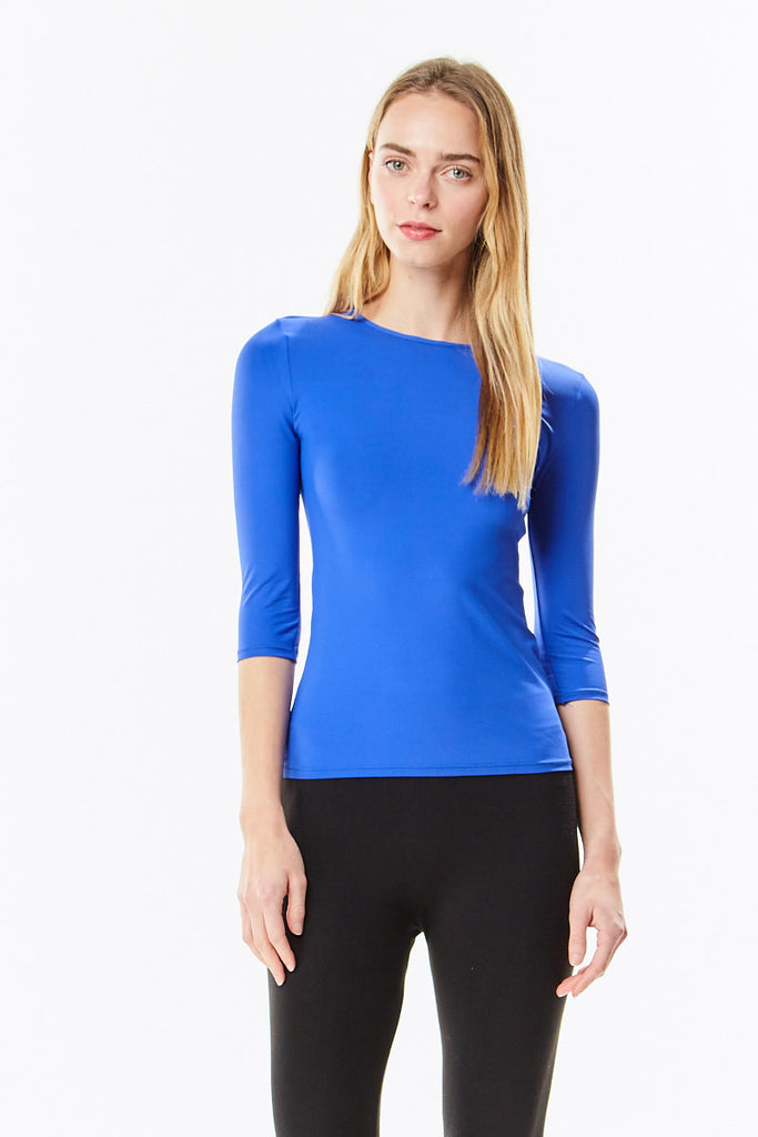 3/4 Sleeve Dazzling Royal Blue Microfiber Layering  Shell Top