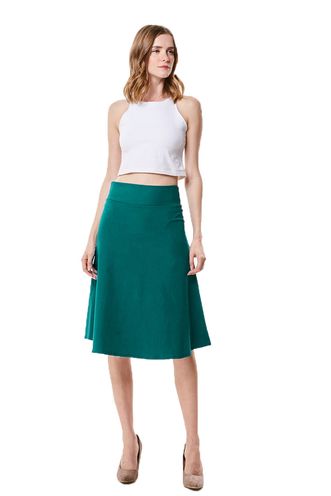A-line Flared High Waist Knee Length Midi Skirt