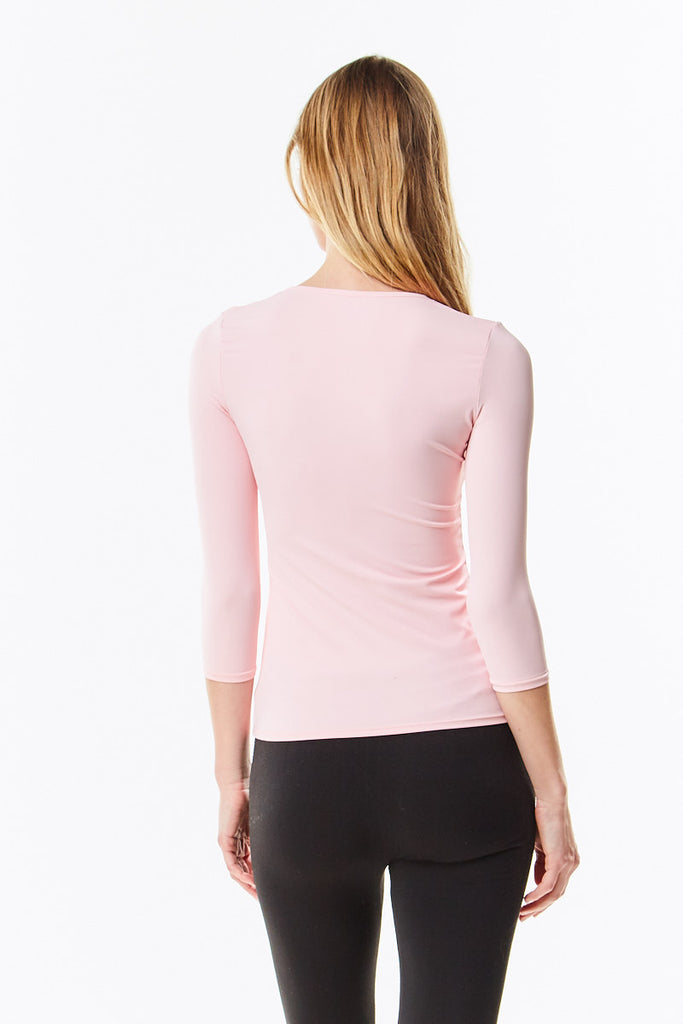 3/4 Sleeve Pink Microfiber Layering Shell Top