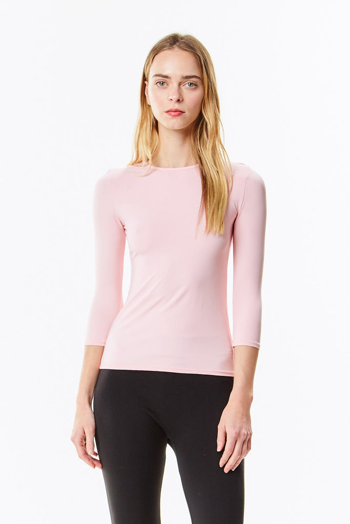 3/4 Sleeve Pink Microfiber Layering Shell Top - CHI-CHI NYC